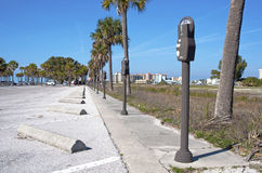 Parking lot with many meters. At the beach, Bellair Florida Stock Photography