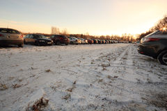 Parking lot on a meadow in the winter Stock Photography