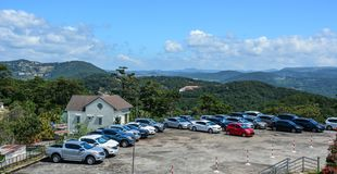 Parking lot on mountain in Dalat, Vietnam royalty free stock photography