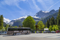 Parking lot near Kandersteg on Bernese Oberland in Switzerland Stock Image