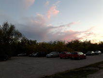 Parking lot. 04 october - Romania. Bucharest. Sunset in the parking lot Stock Images