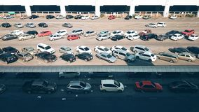 Parking Lot. Outdoor parking lot has full car Royalty Free Stock Photography