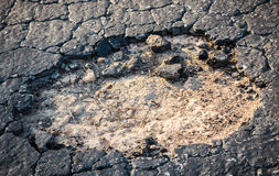 Parking Lot Pothole Royalty Free Stock Photography