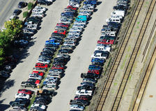 Parking lot and rail tracks. Bird view of parking lot and rail tracks in calgary downtown, alberta, canada Stock Photos