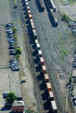 Parking lot and rail tracks royalty free stock images