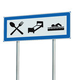 Parking Lot Road Sign Isolated, Restaurant, Hotel Motel, Swimming Pool Icons, Roadside Signage Pole Post, Blue, Black, White Stock Image