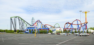 Parking Lot at Roller Coaster Amusement Park Royalty Free Stock Image