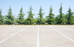 Parking lot. The scenery of empty parking lot Stock Images