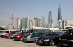 Parking lot in Shanghai, China Royalty Free Stock Photos