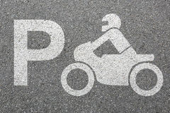 Parking lot sign motorcycle motorbike park motor bike traffic Stock Image