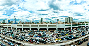 Parking lot and skyline in Bangkok Royalty Free Stock Images