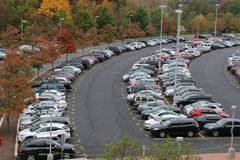 Parking lot at the train station. The commuters have parked their cars and hooped the train Stock Photography