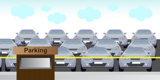 Parking lot. Vector illustration of toll parking in the city centre. There is a lot of cars. Eps format is available Royalty Free Stock Images