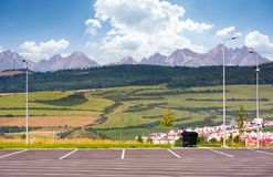 Parking lot with view on High Tatra mountains Stock Images