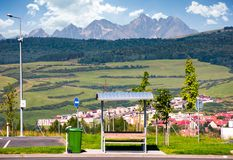 Parking lot with view on High Tatra mountains Royalty Free Stock Photo