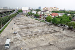 Parking lot white steel structure Royalty Free Stock Images