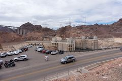Aerial view to the parking lots with a visitors on a Hoover Dam Stock Images