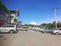 Parking by the mall on the Kamchatka Peninsula royalty free stock photos