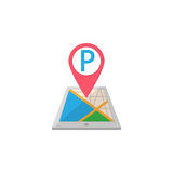 Parking map pointer flat icon, mobile gps Royalty Free Stock Image