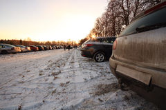 Parking on a meadow in the winter Royalty Free Stock Image