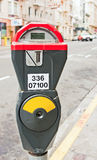 "Parking Meter. Shows ""restrictions see signs"" in the glass Stock Image"