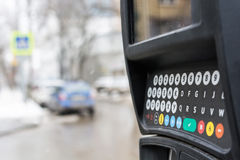 Parking meter in a city Royalty Free Stock Photos