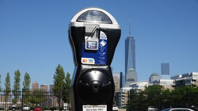 Parking Meter And Freedome Tower Royalty Free Stock Images