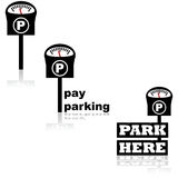Parking meter icons Stock Photos