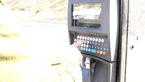 Parking meter machine keypad stock video footage