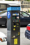 Parking Meter in New York City. Solar powered device to pay for municipal parking on the street Stock Photos