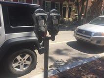 Parking metr na Filadelfia Waszyngton kwadracie Zachodnim, Czerwonej cegły chodniczek, słoneczny dzień ulicy scena Obraz Royalty Free
