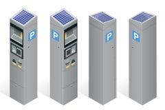 Parking metr pozwolić zapłatę telefonem komórkowym, kredytowe karty, monety Infographic biznesu elementy Mieszkanie 3d isometric ilustracja wektor
