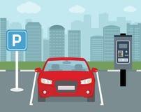 Parking miejsce z jeden bilet maszyną i samochodem Zdjęcie Stock