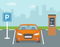 Parking miejsce z jeden bilet maszyną i samochodem Fotografia Royalty Free