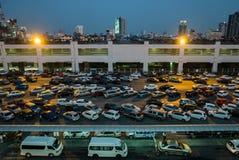 Parking at Mo Chit BTS Station. Bangkok, Thailand - April 27, 2016: Parking at Mo Chit BTS Station, Mo Chit BTS Station is a BTS skytrain station, on the stock photography