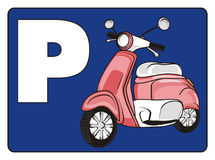 Parking for moped. Pink moped on the blue plate with white letter p Royalty Free Stock Photo