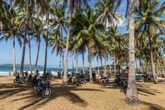 Parking motorbikes at Nacpan Beach Stock Photo