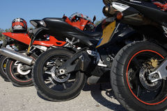 Parking motorcycles. Motorcycles waiting for the race Royalty Free Stock Image