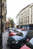 Parking in the narrow streets of historical centre of Prague Stock Photos