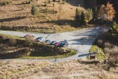 Parking on nature close, tilt shift effect. Parking on with cars nature close, tilt shift effect stock image