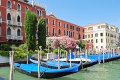 Parking Of Gondolas Near Ponte Di Rialto In Venice Stock Image