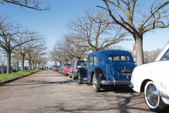 Parking of old cars for the motorshow EpoqAuto Royalty Free Stock Photography