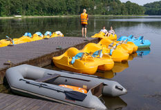 Parking pedalo on lake Stock Photography
