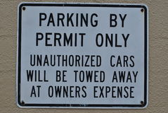 Parking By Permit Only Sign Stock Photography