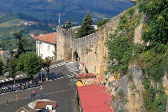 Parking Piazzale Cava Antica and Fortress of San Marino, Italy Royalty Free Stock Photo