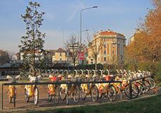 Parking place for city bicycles in Milan Stock Image