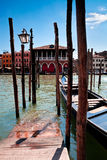 Parking place for Gondolas in Venice Stock Photography