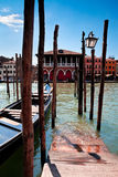 Parking place for Gondolas in Venice. Grand canal, Italy. Royalty Free Stock Photography