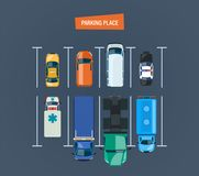 Parking place. Top view of parking lot. Different types cars. City car parking place concept. Top view of the parking lot, space. Different types cars and urban Stock Image