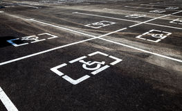 Parking places with handicapped or disabled signs Stock Image